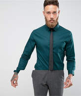 Asos Skinny Teal Shirt With Black Tie Save