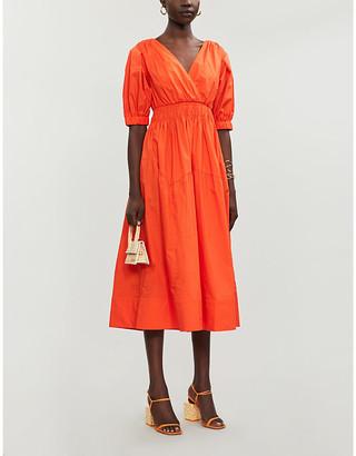 Self-Portrait V-neck organic-cotton poplin midi dress