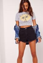 Missguided Malibu Short Sleeve Crop T-Shirt Grey