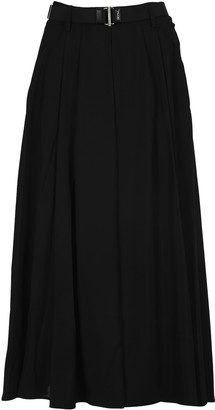 Prada Logo Engraved Belted Flounce Skirt