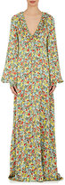 BY. Bonnie Young Women's Floral Silk Ruffle Maxi Dress