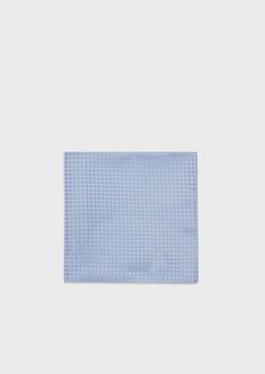 Emporio Armani Pure Silk Pocket Square With Jacquard Monogram