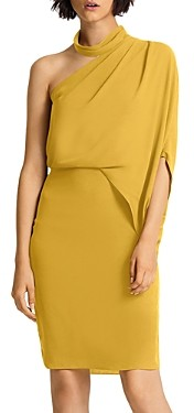 Halston Asymmetric Draped Mock-Neck Dress