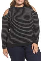 Lucky Brand Cold Shoulder Stripe Sweater (Plus Size)