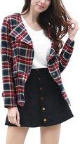 Allegra K Women Long Sleeves Flap Pockets One-Button Tartan Drape Blazer M