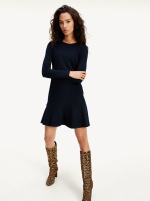 Tommy Hilfiger Textured Fit And Flare Dress