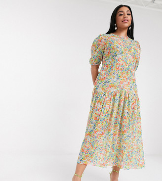 Never Fully Dressed Plus puff sleeve sheer tiered trapeze maxi dress in yellow floral print