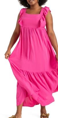 ELOQUII Ruffle Trim Maxi Dress