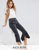 Asos FARLEIGH High Waist Slim Mom Jeans with Extreme Waterfall Hem in Washed Black