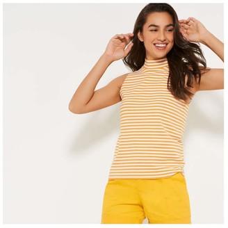 Joe Fresh Women's Stripe Mock Neck Tank, Yellow (Size XS)