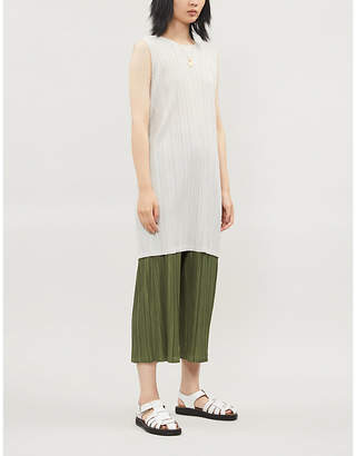 Pleats Please Issey Miyake Sleeveless satin wrap-over pleated dress