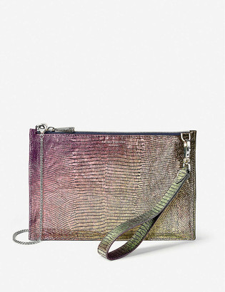 Aspinal of London Soho iridescent lizard-embossed leather clutch bag