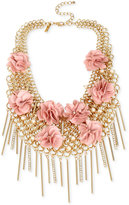 INC International Concepts M. Haskell for Gold-Tone Imitation Pearl and Fabric Flower Statement Necklace, Only at Macy's