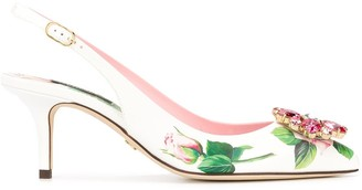 Dolce & Gabbana Tropical Rose print slingback pumps
