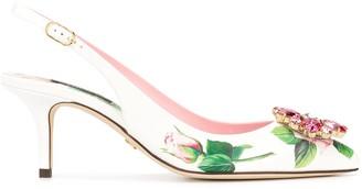 Dolce & Gabbana Tropical Rose print slingback pumps