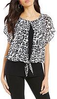 I.N. Studio Short Dolman Sleeve Cheetah Print Tie-Front Top
