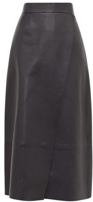 Inès & Marèchal Eternity Wrap Leather Midi Skirt - Navy