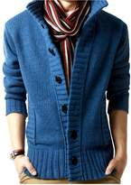 Elonglin Mens Casual Cable Knit Cardigan Sweater Stand Collar (Size CA/EU M = Asian XL)