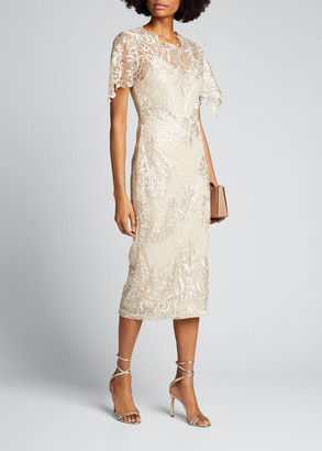 Badgley Mischka Embroidered Lace Sheath Dress