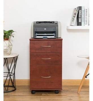 Lokman 3-Drawer Mobile Vertical Filing Cabinet Latitude Run Color: Cherry
