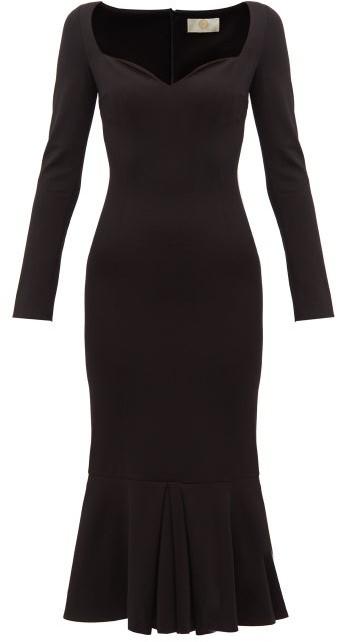 Sara Battaglia Sweetheart Neckline Jersey Maxi Dress - Womens - Black