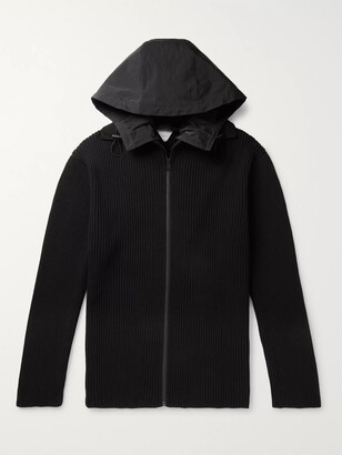 Bottega Veneta Hooded Shell-Trimmed Ribbed Wool-Blend Zip-Up Sweater