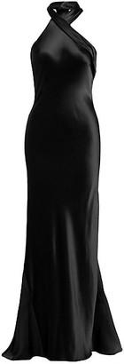 Galvan Pandora Silk Halter Ankle-Length Gown