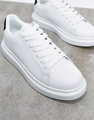 Brave Soul chunky sole trainers in white with contrast black