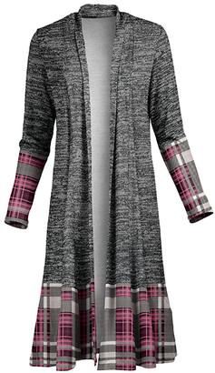 Lily Women's Open Cardigans GRY - Gray & Mauve Plaid-Trim Drape-Front Open Duster - Women & Plus