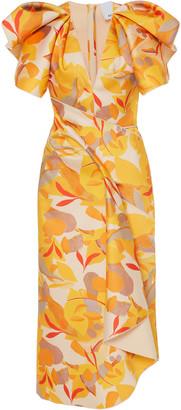 Acler Redwood Ruffled Crepe Midi Dress