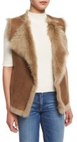 Theory Petriva Tuck Suede Shearling-Lined Reversible Vest