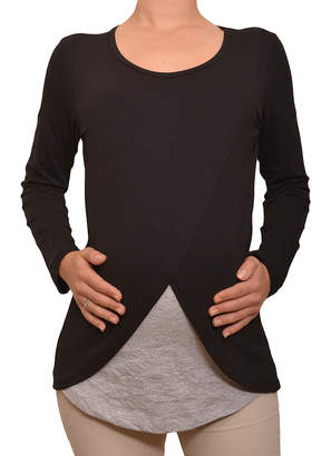 Myra Europe Women's Tee Shirts Black&Grey - Black & Gray Layered Maternity/Nursing Long-Sleeve Top