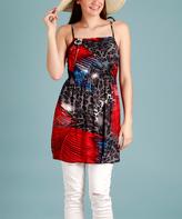 Red & Black Jungle Sleeveless Tunic