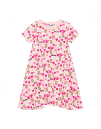 Moschino Teddy Bear Heart Balloons All Over Dress Woman Pink Size 4a It - (4y Us)