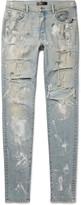 Amiri - Skinny-fit Paint-splattered Distressed Stretch-denim Jeans