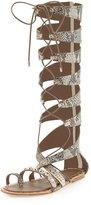 Ivy Kirzhner Sorcerer Lace-Up Snake-Print Gladiator Sandal, Natural Brown/White