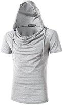 uxcell® Men Drawstring Hooded Short Sleeves Cowl Neckline Shirt Light Grey M