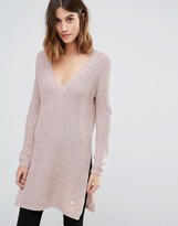 Only Deep V Neck Long Knit Sweater with Side Split