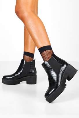 boohoo Croc Chunky Platform Chelsea Boots