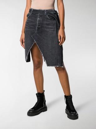 Unravel Project Denim And Plaid Asymmetric Skirt