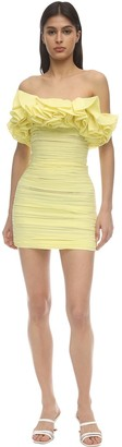 NERVI Ruffled Silk & Cotton Gauze Mini Dress