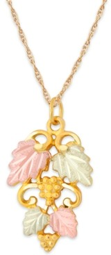 Black Hills Gold Grape and Leaf Pendant in 10k Yellow Gold with 12k Rose and Green Gold