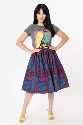 Unique Vintage Universal-Monsters Title-Print Swing-Skirt