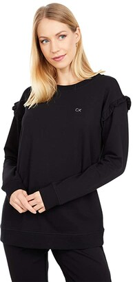 Calvin Klein Ruffle Sleeve Logo Sweater (Black) Women's Clothing