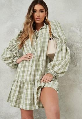 Missguided Green Plaid Tie Front Drop Hem Smock Dress