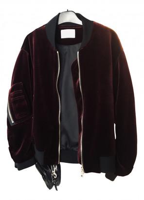Sandro Burgundy Velvet Leather jackets