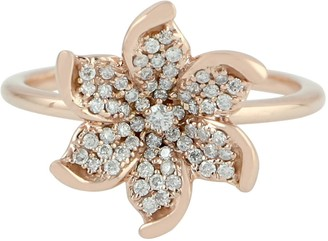 Artisan Flower Diamond Engagement Ring - In 18K Rose Gold