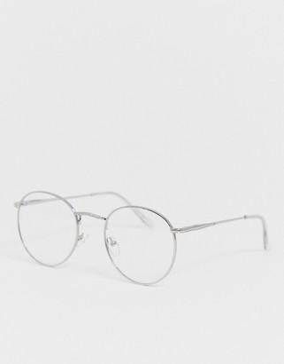 clear Asos Design ASOS DESIGN metal round lens glasses in silver