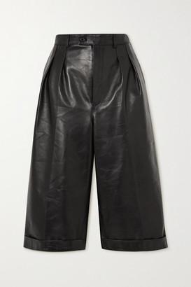 Saint Laurent Pleated Leather Shorts - Black