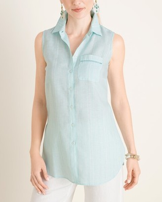 No Iron Linen Striped Sleeveless Button-Down Tunic